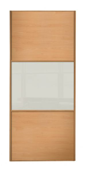 Wideline sliding wardrobe door, Beech frame, Beech-Soft white-Beech